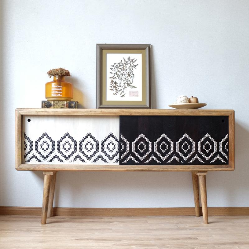 北欧现代实木创意民族风进口实木编织餐边柜门厅玄关柜装饰柜