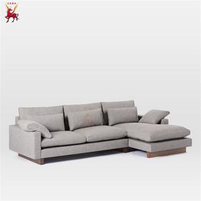 北欧简约组合沙发L形客厅沙发美式拆洗布艺沙发酒店会所时尚沙发
