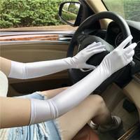 夏季女薄氨纶加长款短款开车防晒紧身弹力袖套婚礼礼仪新娘白手套