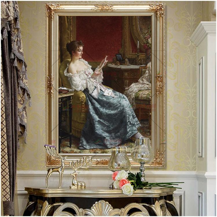 欧式宫廷古典美女人物仿真写实画像竖版过道走廊ktv玄关装饰油画