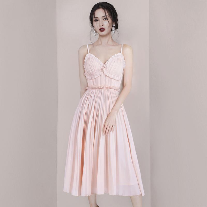 2019夏款气质时尚性感吊带V领修身雪纺裙子超仙百褶度假连衣裙女