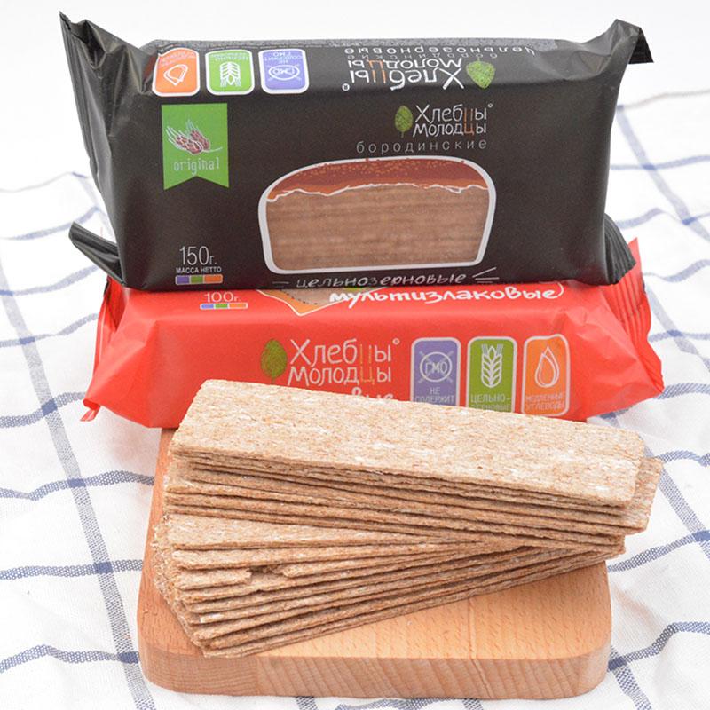 无糖无油低脂低卡俄罗斯薄脆面包片粗粮燕麦黑麦饼干健身谷物代餐,网红进口零食面包干