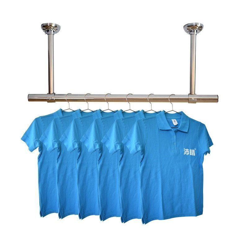 晾衣架单双挂衣杆墙顶晒衣吊座 25 沛晴不锈钢固定式晾衣杆阳台加厚