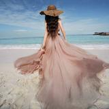 播喜大爱 春装2019款女 裸色雪纺大摆中长款半裙度假沙滩裙长裙