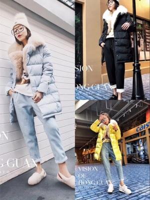 欧洲站2017年冬季新款狐毛领羽绒服时尚衫牛仔裤女士三件套装