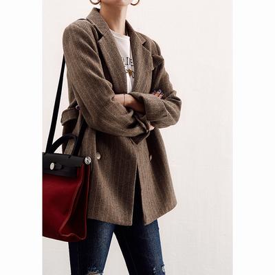 贝丽花园 法式情怀!双排扣 重工色织条纹 羊毛呢西装外套 18秋冬