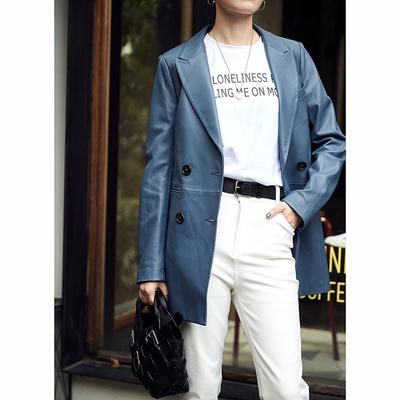 贝丽花园 尘粉/里昂蓝,双排扣中长款 小羊皮西装皮衣夹克 18秋冬