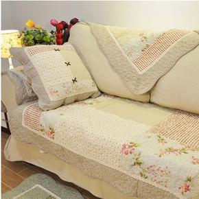 全棉绗缝韩式田园布艺沙发垫防滑四季通用美式简约现代罩套沙发巾