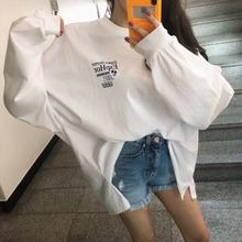 Spot Korean Women's Wear Fall 2019 New ins Net Red Loose Back Letter Printed Long Sleeve T-shirt