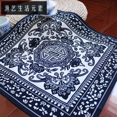 万能盖布艺餐桌方巾 沙发扶手巾 中国风布络 蓝印花传统特色 万寿