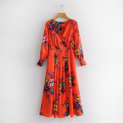 外贸原单大牌出口欧美风剪标真品尾单新款交叉领口花朵长袖连衣裙