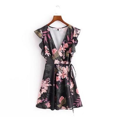 欧美大牌外贸原单女装出口余单尾单尾货剪标印花无袖系带连衣裙女