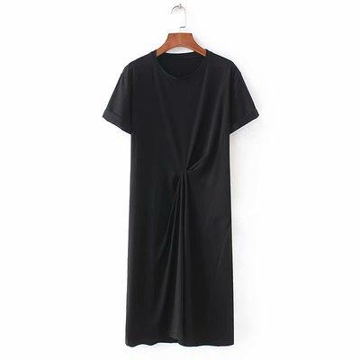 外贸原单大牌出口欧美风剪标真品尾单新款圆领褶皱短袖两色连衣裙