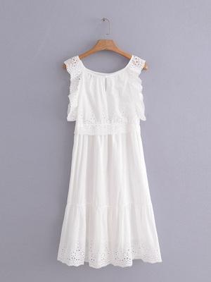 外贸原单大牌出口欧美风剪标真品尾单圆领花边刺绣长款纯色连衣裙