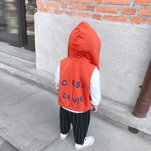 L妈 儿童百搭拉链童装 LUSON定制 男童印花连帽马甲春秋款 上衣
