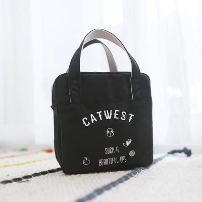 猫西自制款防水手提保温包便当包饭盒包方形日系复古手拎包新品