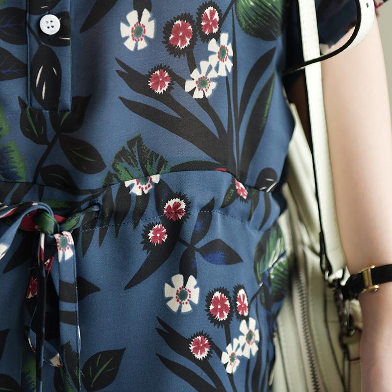 天然出品 光影的轮廓 宽松文艺显瘦印花雪纺短袖衬衫连体短裤新款