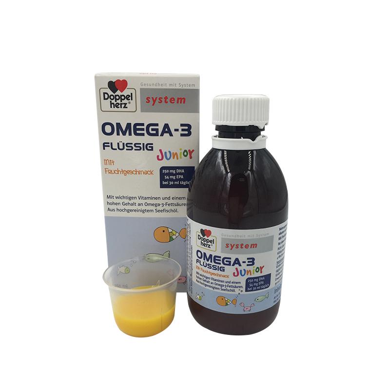 德国双心Doppelherz幼儿童Omega3深海鱼油DHA果冻状柠檬味注意力