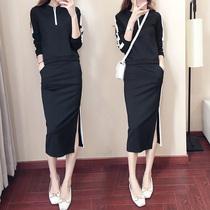 休闲运动服卫衣套装2019秋季新款韩版时尚包臀套裙长袖两件套女装