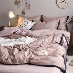北欧简约条格全棉4四件套纯棉裸睡宽边被套床单床笠宿舍三件套