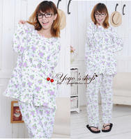 Two pieces of month clothes spring, summer, spring and autumn double yarn nursing pajamas set * breastfeeding clothing * long sleeve month clothes *