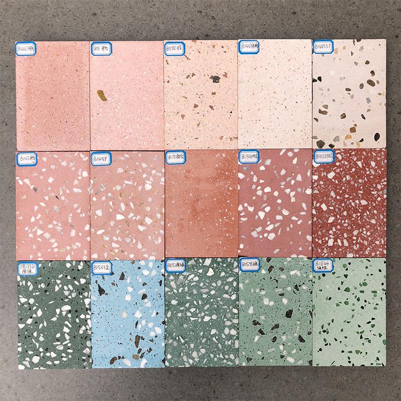 现货水泥基水磨石地面材料预制石英砂大板网红服装奶茶店墙地面