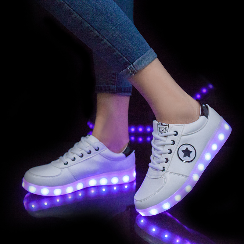 Men's Shoes Radient Summer Colorful Luminous Shoes Male Usb Charging Led Flash Ghost Dance Shoes Fluorescent Student Luminous Shoes Suitable For Men And Women Of All Ages In All Seasons