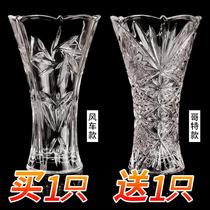落地宽口小口径厚玻璃瓶窄口大号透明富贵竹小口玻璃花瓶卫生间鲜