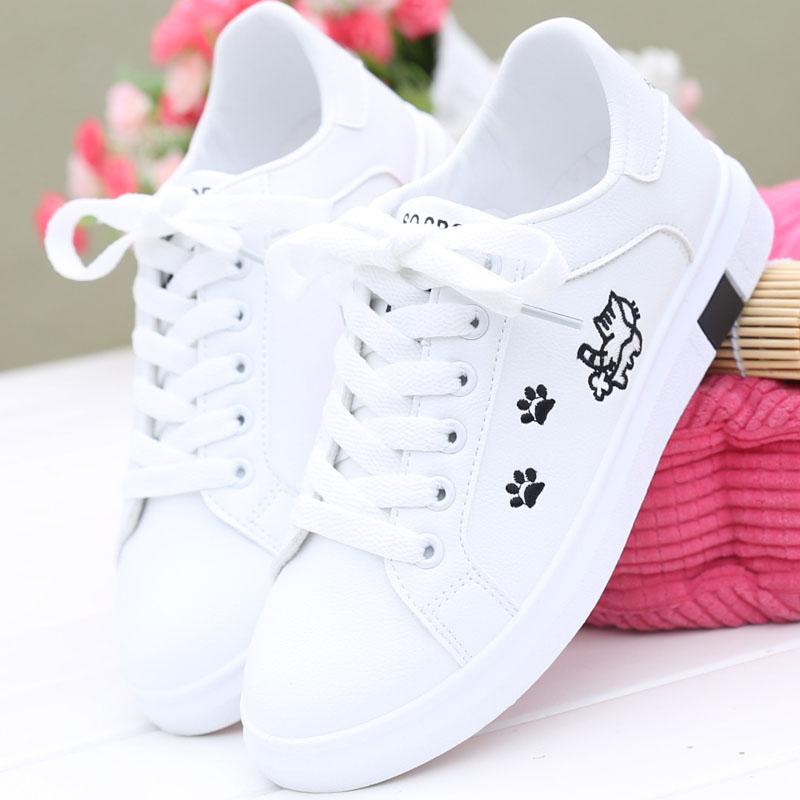2018秋季新款小白鞋女韩版百搭休闲鞋学生运动板鞋平底鞋系带甜美