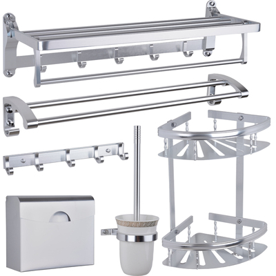 高档银色太空铝置物架浴室挂件毛巾架三角架毛巾杆马桶刷衣钩