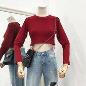 纯色韩女针织衫 上衣 圆领套头长袖 时尚 修身 百搭韩版 J@18新款