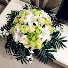 圆桌转盘酒店大堂仿真花假花大型花欧式会议装饰客厅餐桌花艺套装