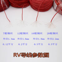 GB pure copper RV soft wire 0.12/0.2/0.3 square fine electronic copper wire single core multi-strand signal control line