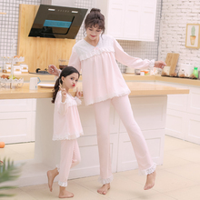 Girls'Nightwear Spring and Autumn 2019 New Pure Cotton Long Sleeve Mother's Daughter's Nightwear Princess Zhongda Children's Home Suit