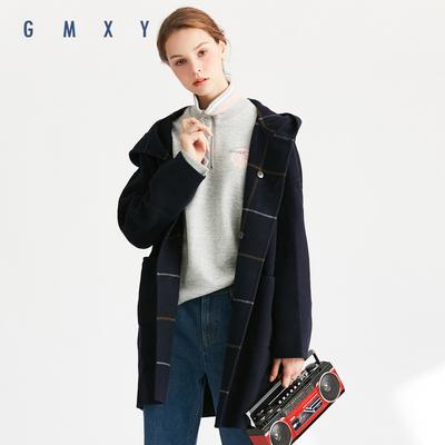 古木夕羊/GMXY2018秋冬新品双面呢子大衣女宽松带帽格子休闲外套