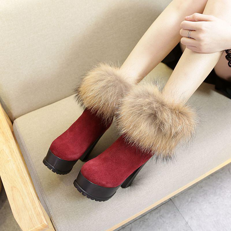 狐狸毛短靴