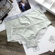 Literary striped youth couple pants sexy lace ladies triangle underwear cotton breathable waist men's boyshort