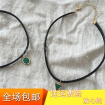 Circle Malachite Simple female short minimalist Harajuku Necklace neck belt PU leather jewelry New Other jewelry Europe and the US