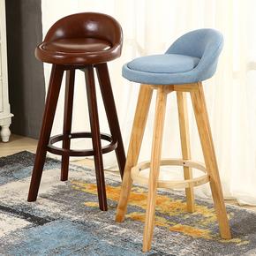 实木吧台椅简约吧椅高脚酒吧凳家用欧式旋转吧凳靠背咖啡馆高椅子