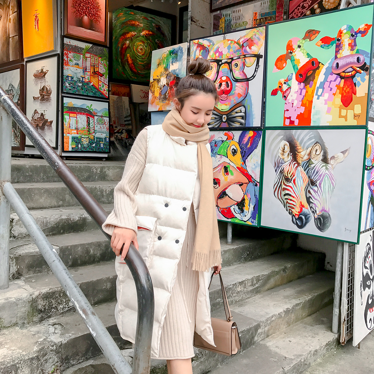 ◆MUGU蘑菇◆秋冬韩版2017新款中长款翻领宽松百搭棉衣外套马甲女3元优惠券