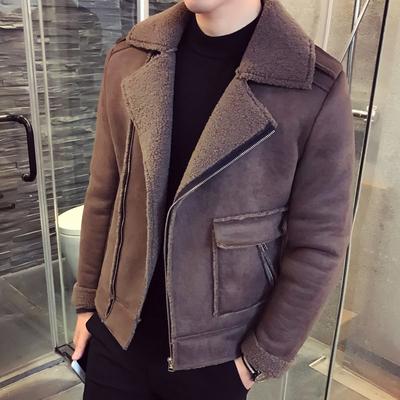 鹿皮绒外套男士短款韩版冬季休闲男装外衣西装领加绒加厚棉衣潮流