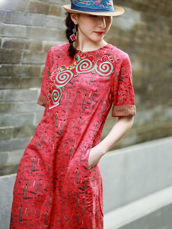 读你民族风原创设计2018夏装新款中国风改良旗袍棉麻印花连衣裙女