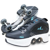 Anglo-good angle deformation shoes four-wheeled explosive dual-purpose ice skates shoes Heelys shoes men and women vibrating pulley shoes