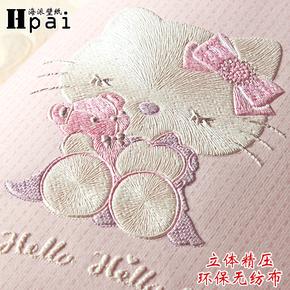 儿童房墙纸壁纸公主房卡通猫无纺布壁纸可爱男孩女孩温馨卧室壁纸