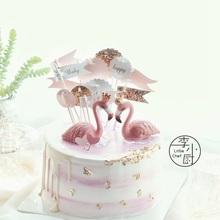 热销火烈鸟烘焙蛋糕装饰摆件