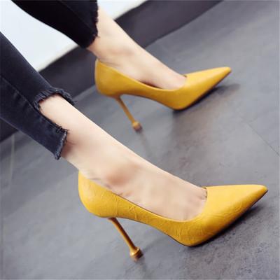 糖果色女鞋2019秋季新款欧美尖头做旧细跟高跟鞋猫跟浅口单鞋黄色