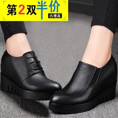 2018秋季新款高跟坡跟厚底女式皮鞋内增高单鞋女春秋百搭黑色女鞋