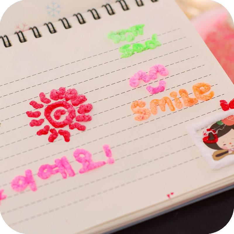 人气韩国儿童创意diy立体彩绘发泡笔 神奇爆米花泡泡笔10色装饰笔