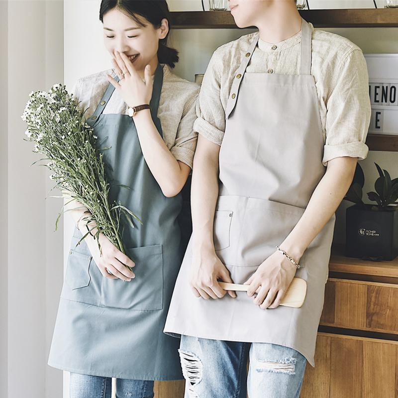 高档ins围裙全棉防水厨房奶茶咖啡店餐厅美甲韩版时尚工作服男女