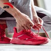 安踏跑步鞋2019夏季男减震耐磨轻便红色休闲鞋网面透气软底运动鞋